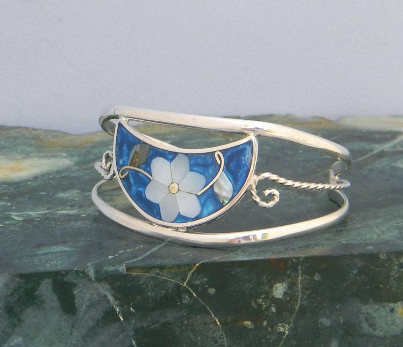 Mexican Cuff Bracelet Abalone Shell MOP Inlay Alpaca Silver 5-78 Vintage Blue Enamel H42