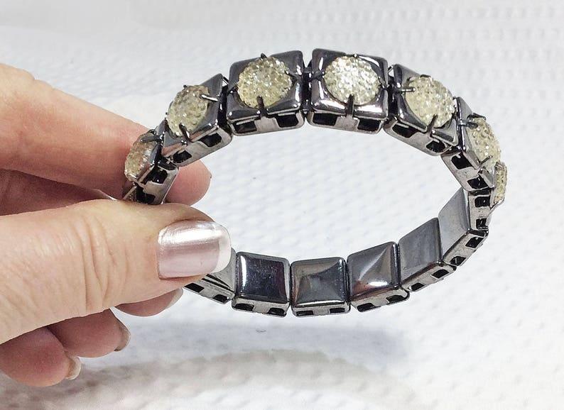 Bronze and Druzy-Inspired  Inlaid Tiles Bangle Bracelet