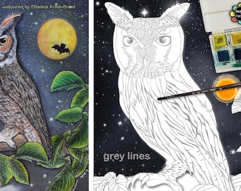 Owl Colouring Pages - Adult Colouring Pages - Owls - Birds Coloring Page - Owl Wall Art - Light & Dark Backgrounds PDF - Grey Lines A3