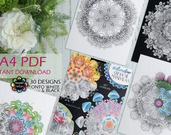 Watercolour Greyscale Mandalas - Adult Colouring Book - Mandalas Colouring Book Printable PDF - A4 Size