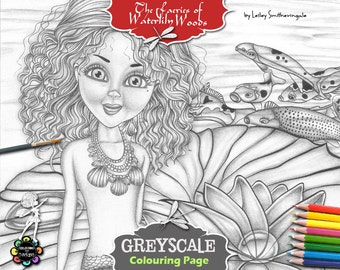 Greyscale Mermaid Colouring Page - Aqualina and her Koi Friends - Adult Colouring Pages,  Fantasy Coloring Book
