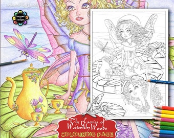 Tealani and Aqualina having Morning Tea - Adult Colouring Pages - Adult Coloring Book,  Fairies Coloring Book, Fantasy Coloring Book