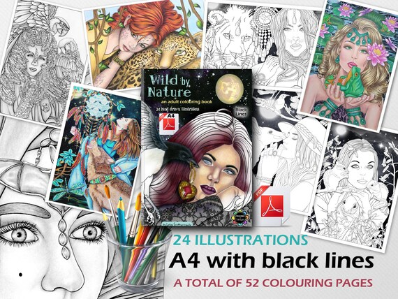 Fantasy Adult Colouring Book Pdf A4 Black Lines Wild By Etsy