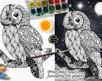 Tangled Owl Colouring Pages - Adult Colouring Pages - Owls - Zentangle Owl - Owl Coloring Page - Owl Wall Art - Light & Dark PDF A3