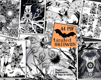 Halloween Colouring Book for Adults - Tangled Halloween Pack - Pages, Bookmarks and Tags to Colour - PDF A4