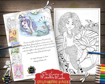 Aqualina and her Koi Friends: Adult Colouring Pages, Fairies Coloring Book, Mermaid Coloring Page, Fantasy Coloring Book