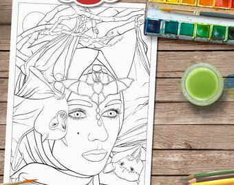 Bat Bride Adult Colouring Page - Fantasy Colouring Pages - Lesley Smitheringale - Bats- Fantasy Art - Line Art PDF - A4 and Letter