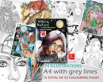 Fantasy Adult Colouring Book PDF A4 Grey Lines, Wild by Nature, Pretty Women, Fairies, Spirit Animals, Instant Download Printable Files