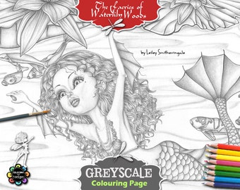 Aqualina on her way to Morning Tea - Greyscale Adult Colouring Pages - Adult Coloring Book,  Fairies Coloring Book, Fantasy Coloring Book