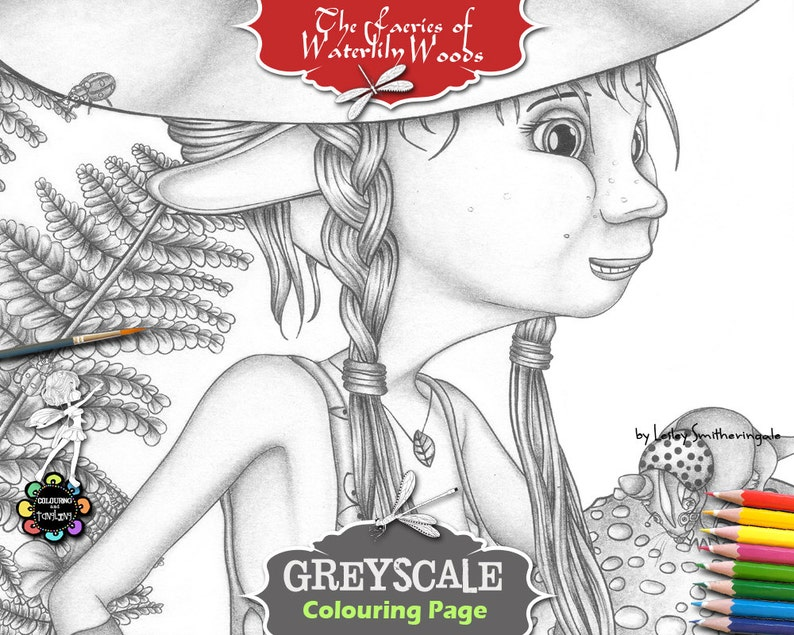 Fairies Fairy BookFantasy Coloring Page For The Greyscale Rebella In Woods Adults K1c35uTFlJ