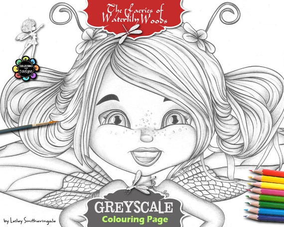 Dragonfliella Greyscale Adult Colouring Pages Fairies Etsy