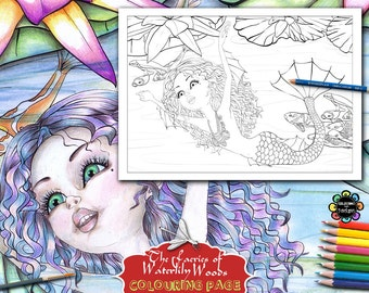 Aqualina on her way to Morning Tea -Adult Colouring Pages - Adult Coloring Book,  Fairies Coloring Book, Fantasy Coloring Book