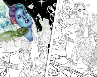 Chameleon Faerie Adult Colouring Page - Fantasy Colouring Pages - Fantasy and Fairytale Art - Line Art PDF - White & Night Sky Backgrounds