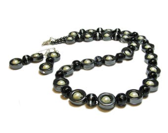 Sterling Silver Hand Crafted Hematite & Glass Bead Necklace and Earring Set By SoniaMcD
