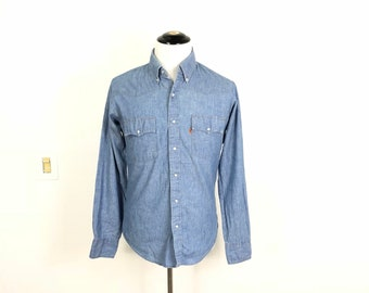 b5b7029290f12a 80 s vintage levi s chambray denim jean western cowboy shirt made in canada  size L