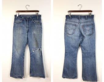 80 di afflitta dell annata 646 chiarore boot denim pantaloni jeans  arancione scheda Dimensione w33 di levi f27e949c980