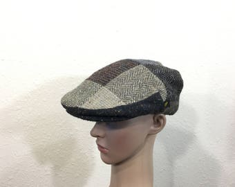 71e802f3 80's vintage wool patch work newsboy cap made in ireland size 6 5/8 - 6 3/4