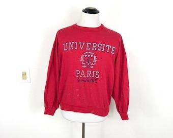 3736c7b9b 80s vtg distressed university of paris 50/50 blend sweatshirt