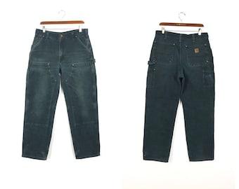 6c8051d881cd4 carhartt 100% cotton double knee work pants black color size w35