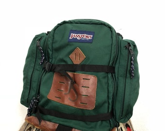 225574bf67fa 90 s vintage jansport bottom leather backpack day pack made in usa size L