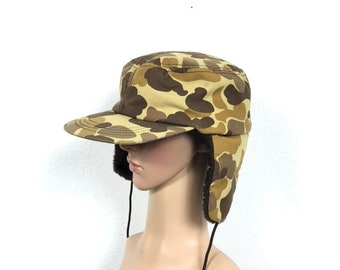 e4af6df0f39 90s vtg camouflage trapper hat hunting cap made in usa size 7 1 4