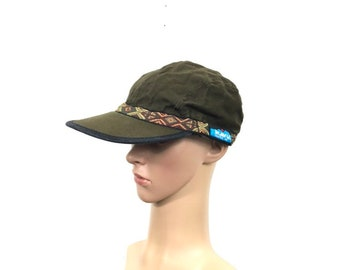 cb9f8816565 90s vtg KAVU 100% cotton adjustable cap hat brown color made in usa size M