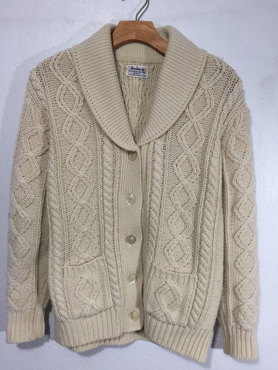 42f000debb 80 s vintage shawl collar cardigan sweater cable irish style