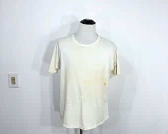 80's vintage distressed all cotton t-shirt thrashed beat tee