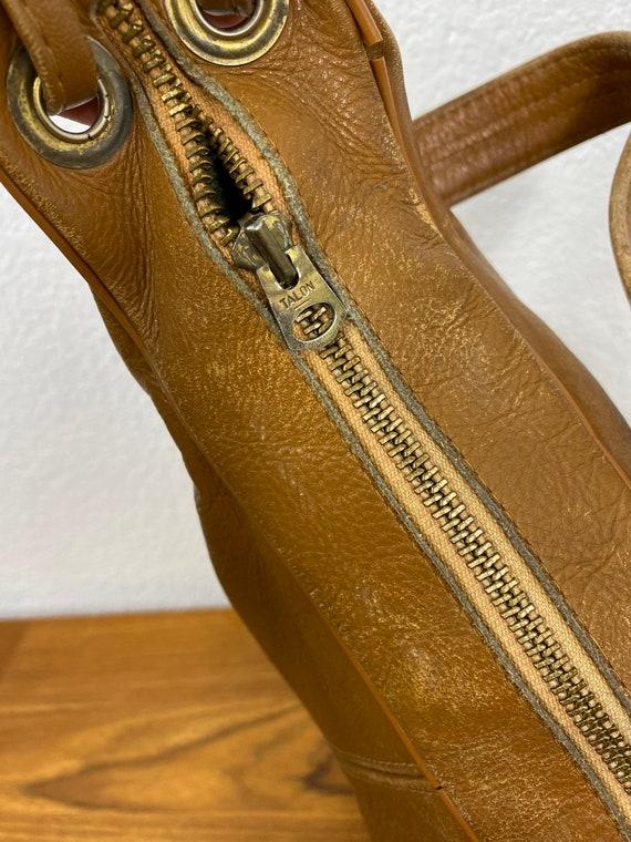 60's vintage leather top handle bag talon zipper … - image 5
