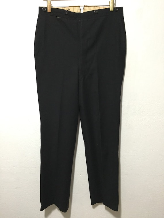 40's euro vintage wool trouser pants black mens
