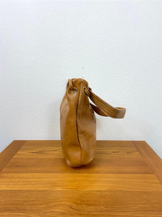 60's vintage leather top handle bag talon zipper … - image 3