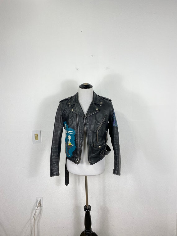 80s vtg perfecto by schott hand paint leather moto