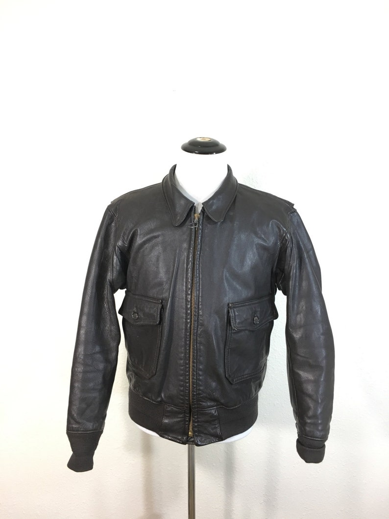 e657862a599 90 s A-2 type leather bomber flight jacket made in usa