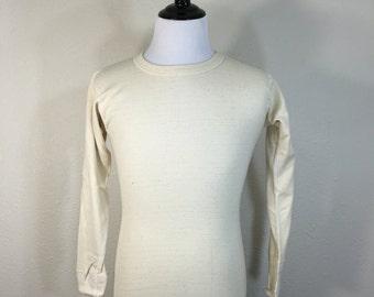 70's long sleeve t-shirt underware 50/50 cotton wool blend size medium