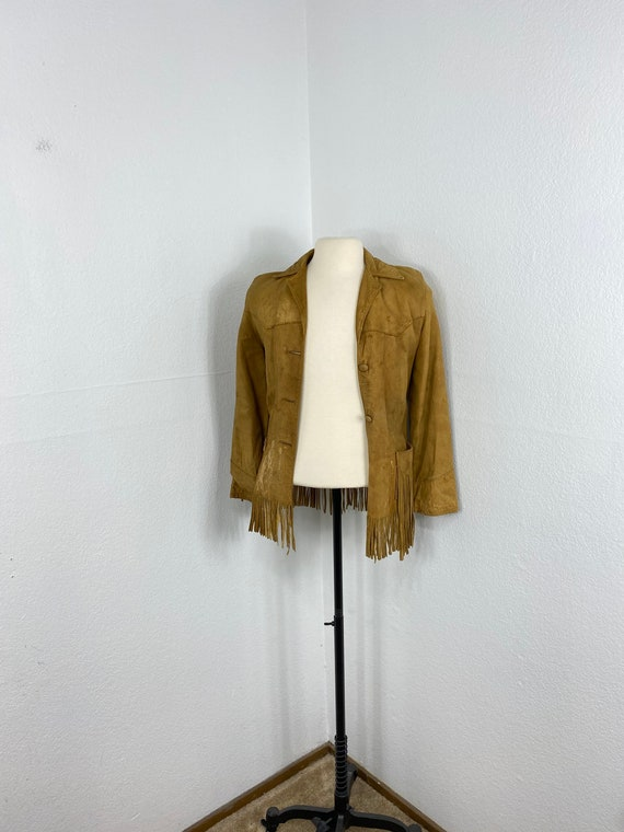 50s vintage distressed nubuck leather fringed west