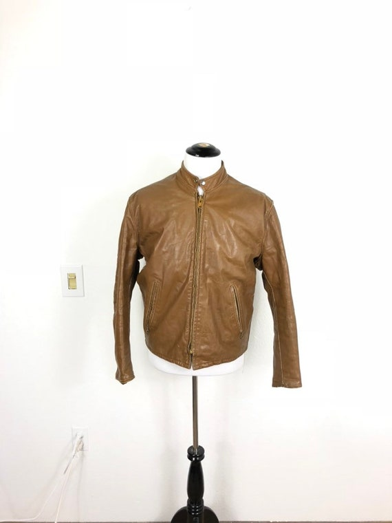 70's vintage cafe racer motorcycle leather jacket