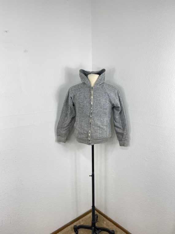 60s 70s vintage heather gray thermal lined zip up