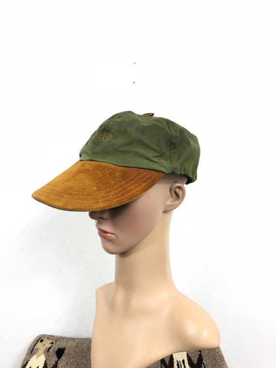 Vintage barbour waxed cotton leather brim baseball cap made in  285ca212155a