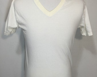 80's vintage v-neck blank t shirt 100% cotton made in usa size large