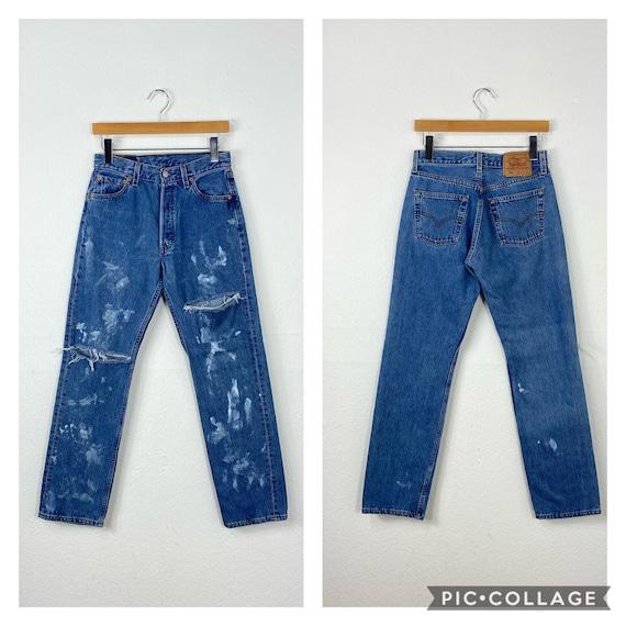 90s vintage distressed levi's 501  jeans denim pa… - image 1