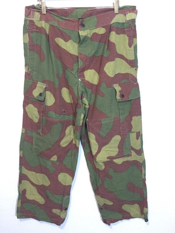 70's euro vintage camouflage cargo pants mens W36 4iX0l