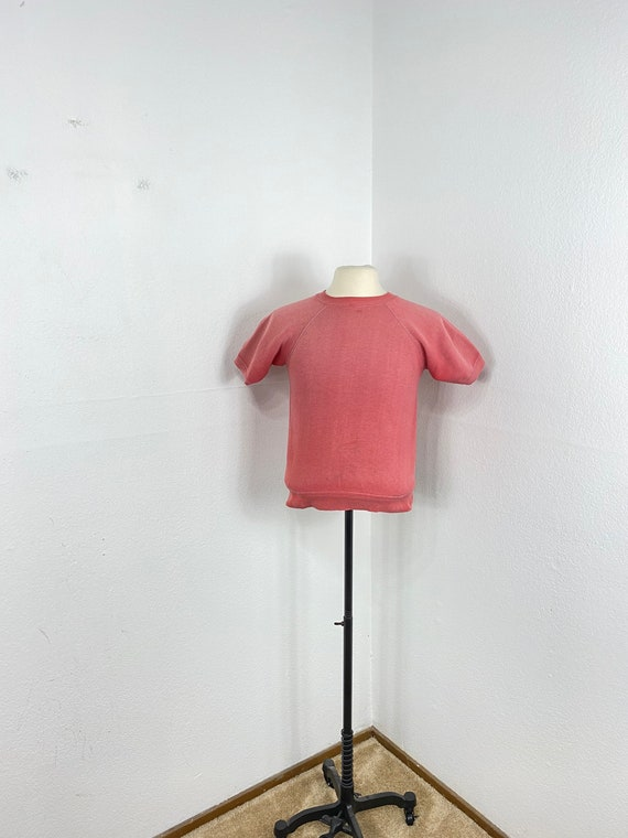 60s vintage 100% cotton faded red color short slee