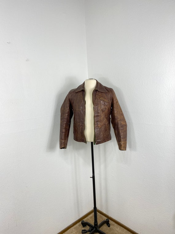 40's vintage horsehide leather jacket quilt lined