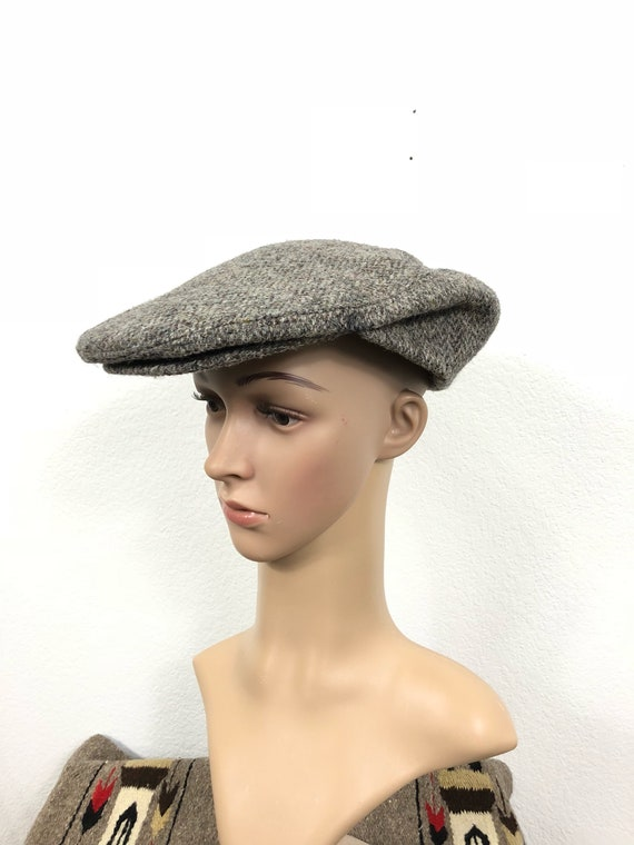 f281320a924 80 s vintage harris tweed wool newsboy cap hat size 7 5 8