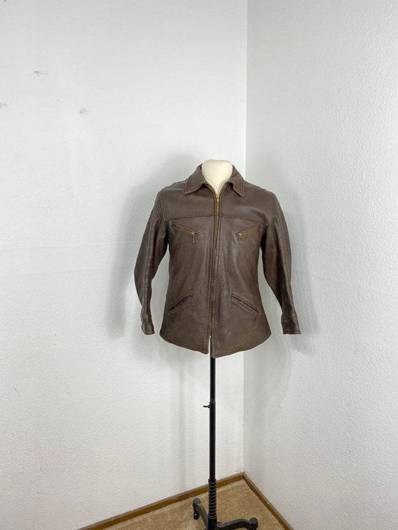 40s 50s vintage leather jacket flannel lined motor