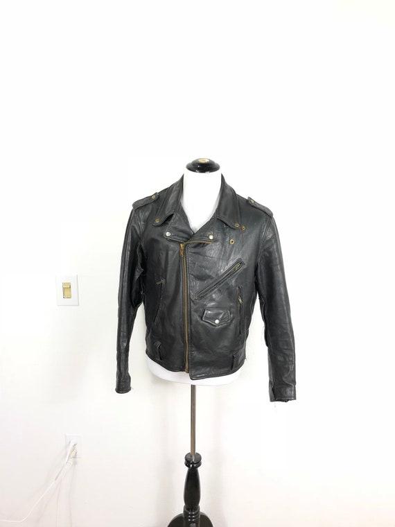 70's vintage motorcycle leather jacket coat size 4