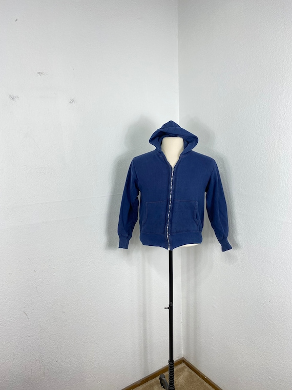 60s vintage 100% cotton thermal lined zip up hoodi