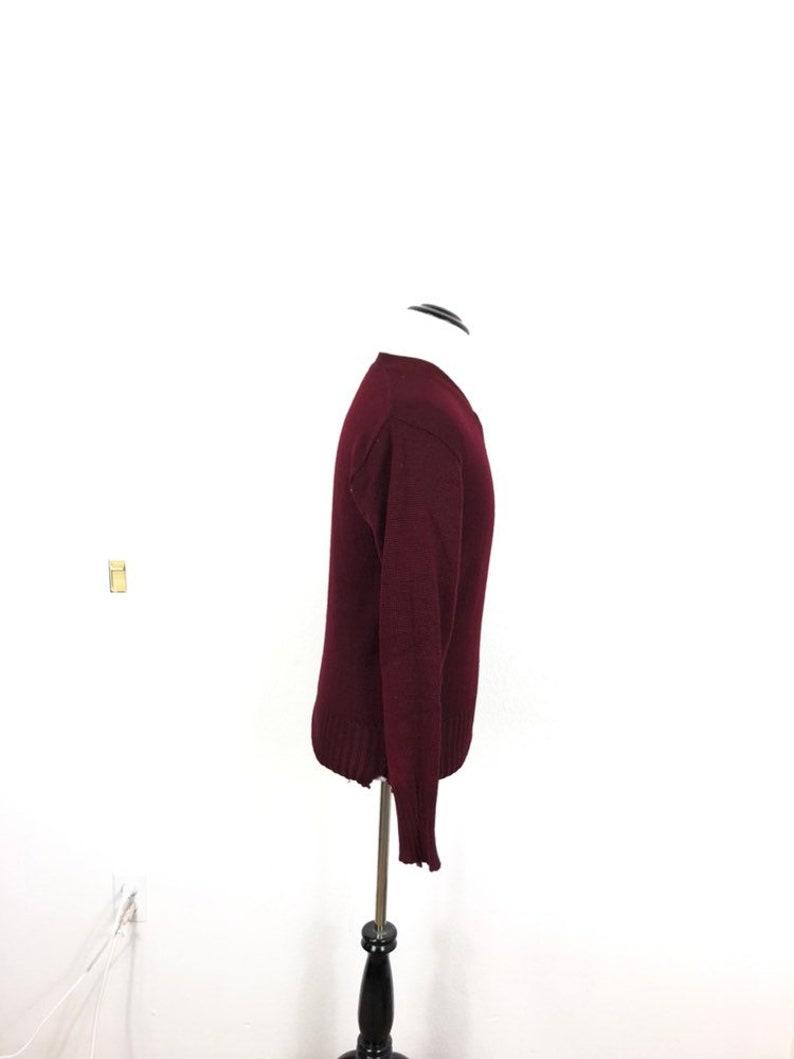 50s vtg 100/% wool v neck varsity sweater lettermans pullover burgundy