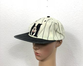 90's vintage striped mickey mouse snapback baseball cap