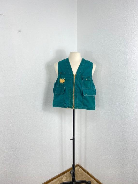 50s vintage 100% cotton zip up fishing vest